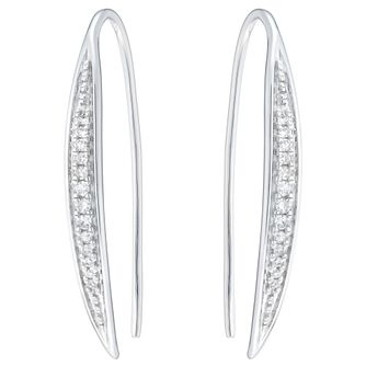 9ct White Gold 0.10ct Diamond Hoop Earrings - Product number 6420567