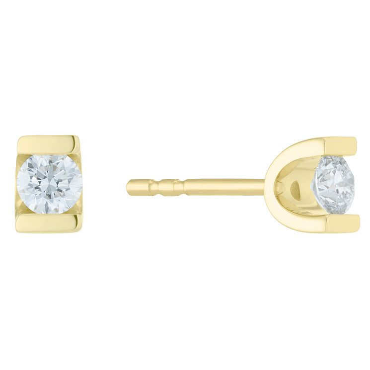 9ct Yellow Gold 0.25ct Diamond Bar Set Earrings - Product number 6420583