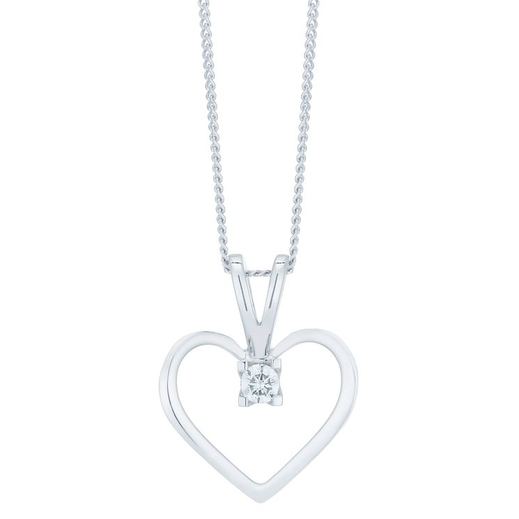 9ct White Gold Diamond Heart Pendant - Product number 6420664