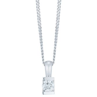 9ct White Gold 1/4ct Diamond Bar Set Pendant - Product number 6420737