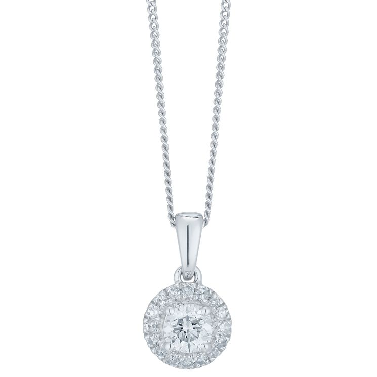 9ct White Gold 0.33ct Diamond Halo Pendant - Product number 6420753