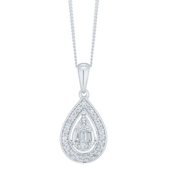 9ct White Gold 1/5ct Diamond Pear Pendant - Product number 6420796