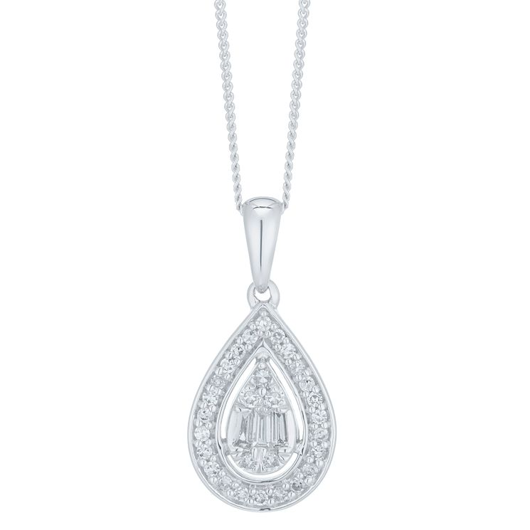 9ct White Gold 0.20ct Diamond Pear Pendant - Product number 6420796