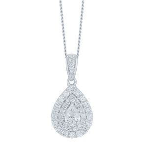 9ct White Gold 1/3ct Double Halo Pear Pendant - Product number 6420834