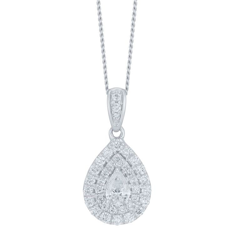 9ct White Gold 0.33ct Double Halo Pear Pendant - Product number 6420834