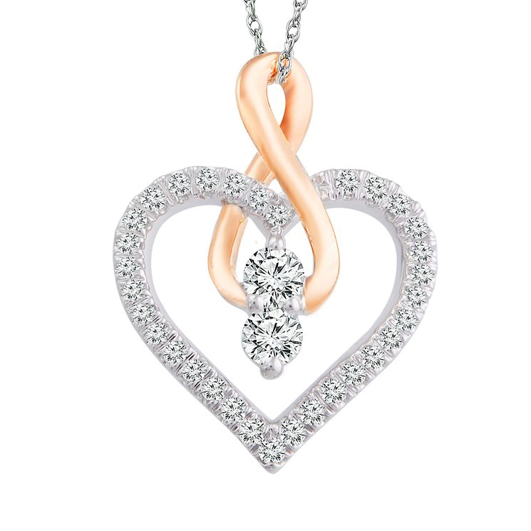 Ever Us 14ct White & Rose Gold 0.25ct Diamond Heart Pendant - Product number 6420842