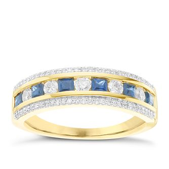 18ct Yellow Gold 0.33ct Diamond & Sapphire Ring - Product number 6423418