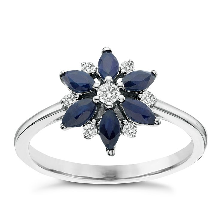 9ct White Gold 0.10ct Diamond & Sapphire Flower Ring - Product number 6423531