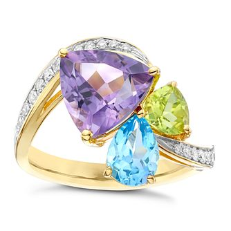 9ct Yellow Gold Blue Topaz, Amethyst, Peridot & Diamond Ring - Product number 6424112