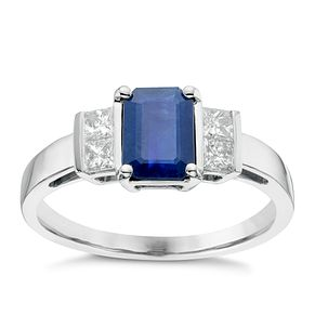 18ct White Gold 0.26ct Diamond & Sapphire Ring - Product number 6424651