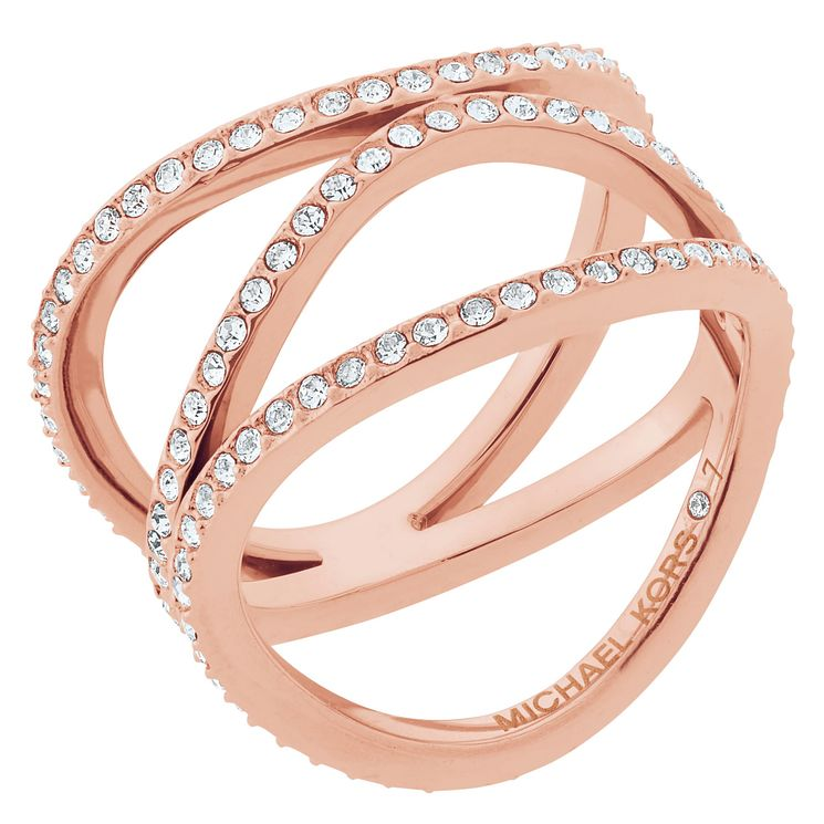 Michael Kors Rose Gold Tone Stone Set Ring Size N - Product number 6426166