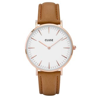 Cluse Ladies' La Bohème Brown Leather Strap Watch - Product number 6426883