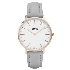 Cluse Ladies' La Bohème Grey Leather Strap Watch - Product number 6426891