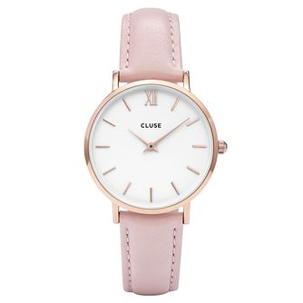 Cluse Ladies' Minuit Pink Leather Strap Watch - Product number 6427081