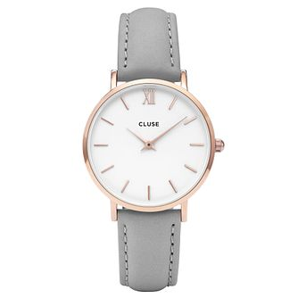 Cluse Ladies' Minuit Grey Leather Strap Watch - Product number 6427103
