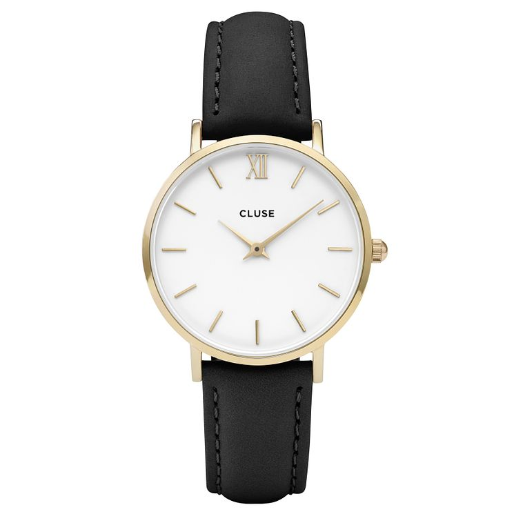 Cluse Ladies' Minuit Black Leather Strap Watch - Product number 6427197