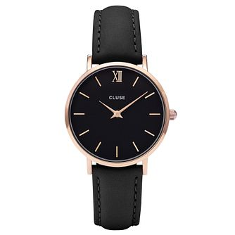 Cluse Ladies' Minuit Black Leather Strap Watch - Product number 6427200