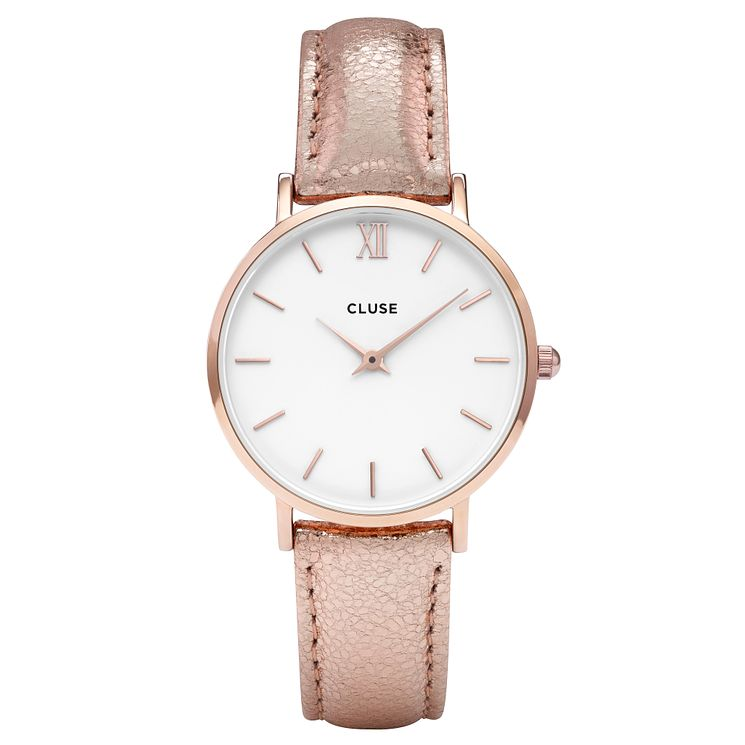 Cluse Ladies' Minuit Rose Gold Leather Strap Watch - Product number 6427243