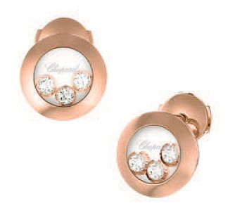 Chopard Happy Diamonds 18ct Rose Gold Diamond Stud Earrings - Product number 6432697