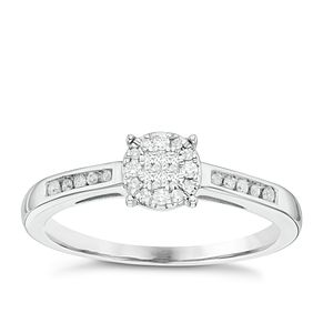9ct White Gold 0.15ct Diamond Cluster Ring - Product number 6434444
