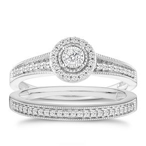 9ct White Gold 1/4ct Round Diamond Halo Bridal Set - Product number 6435092