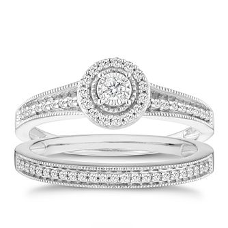 9ct white gold 0.25ct round diamond halo bridal set - Product number 6435092