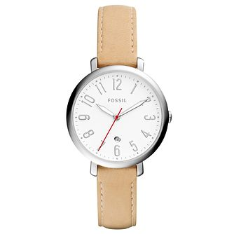 Fossil Ladies' Cream Leather Strap Watch - Product number 6439934