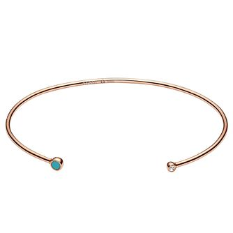 Fossil Ladies' Rose Gold & Turquoise Open Cuff Bangle - Product number 6440010