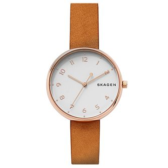 Skagen Ladies' Signatur Brown Leather Strap Watch - Product number 6440053