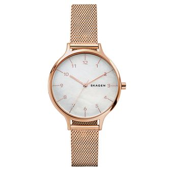 Skagen Ladies' Anita Rose Gold Plated Mesh Bracelet Watch - Product number 6440088