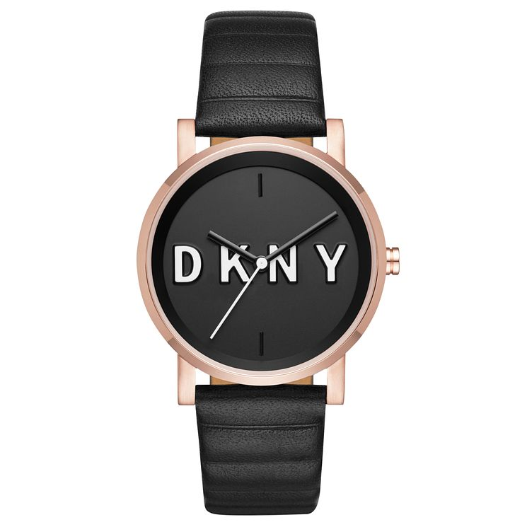 DKNY Ladies' Black Leather Strap Watch - Product number 6440207