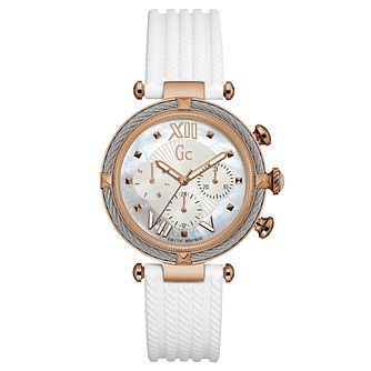 Gc CableChic Ladies' White Silicone Strap Watch - Product number 6440274
