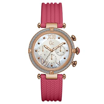Gc CableChic Ladies' Pink Silicone Strap Watch - Product number 6440304