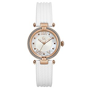 Gc CableChic Ladies' White Silicone Strap Watch - Product number 6440363