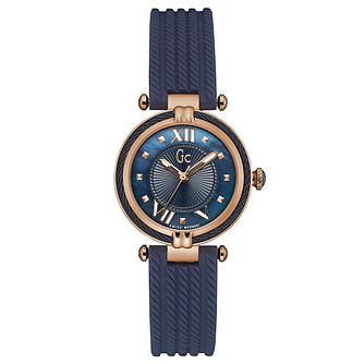 Gc CableChic Ladies' Blue Silicone Strap Watch - Product number 6440371