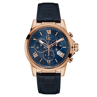 Gc Esquire Men's Blue Leather Strap Watch - Product number 6440614