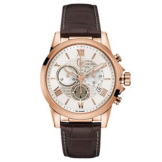 Gc Esquire Men's Brown Leather Strap Watch - Product number 6440622