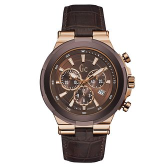 Gc Structura Men's Brown Leather Strap Watch - Product number 6440657