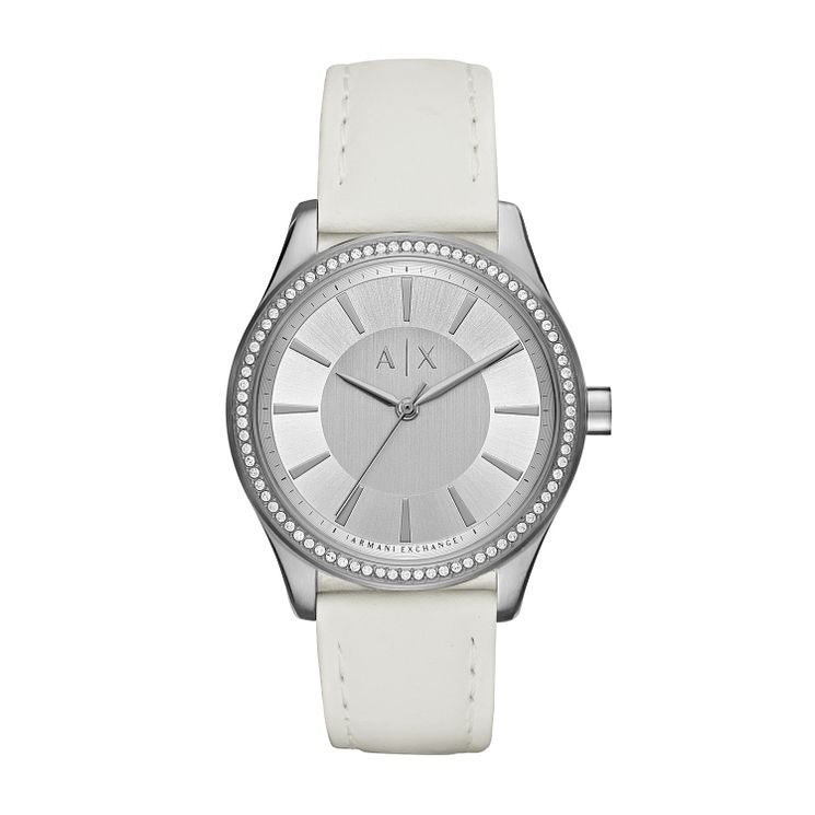 Armani Exchange Ladies' White Leather Strap Watch - Product number 6440827