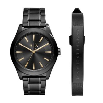 Armani Exchange Men's Black Ion Plated Watch & Bracelet Set - Product number 6440908