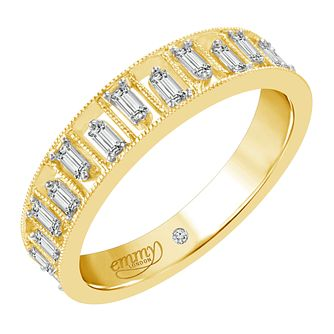 Emmy London 18ct Yellow Gold 1/4ct Baguette Cut Diamond Ring - Product number 6444156