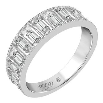 Emmy London 18ct White Gold 2/5ct Baguette Cut Diamond Ring - Product number 6444830