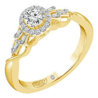 Emmy London 18ct Yellow Gold 1/3ct Diamond Halo Ring - Product number 6450105