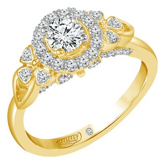 Emmy London 18ct Yellow Gold 0.66ct Round Cut Diamond Ring - Product number 6451144