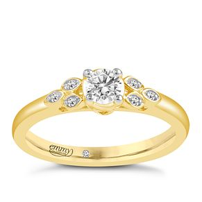 Emmy London 9ct Yellow Gold 1/5 Carat Diamond Ring - Product number 6452698