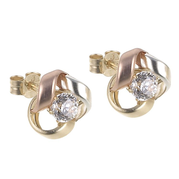 9ct 3 Colour Gold Cubic Zirconia Knot Stud Earrings - Product number 6467547