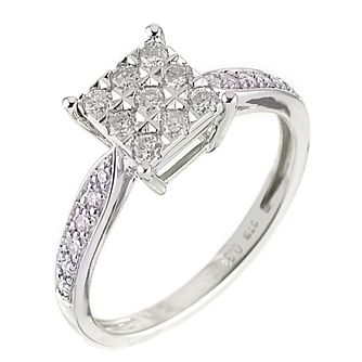 9ct White Gold Third Carat Diamond Cluster Ring - Product number 6483909