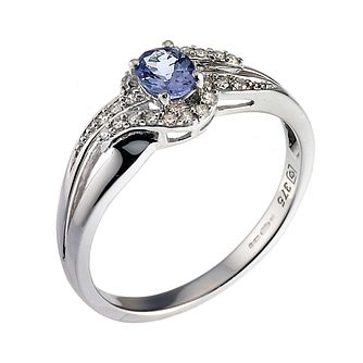 9ct White Gold Diamond and Tanzanite Twist Ring - Product number 6485278