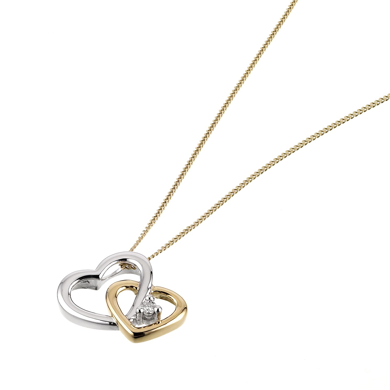 9ct yellow gold diamond twin heart pendant hmuel 9ct yellow gold diamond twin heart pendant product number 6486738 aloadofball Choice Image