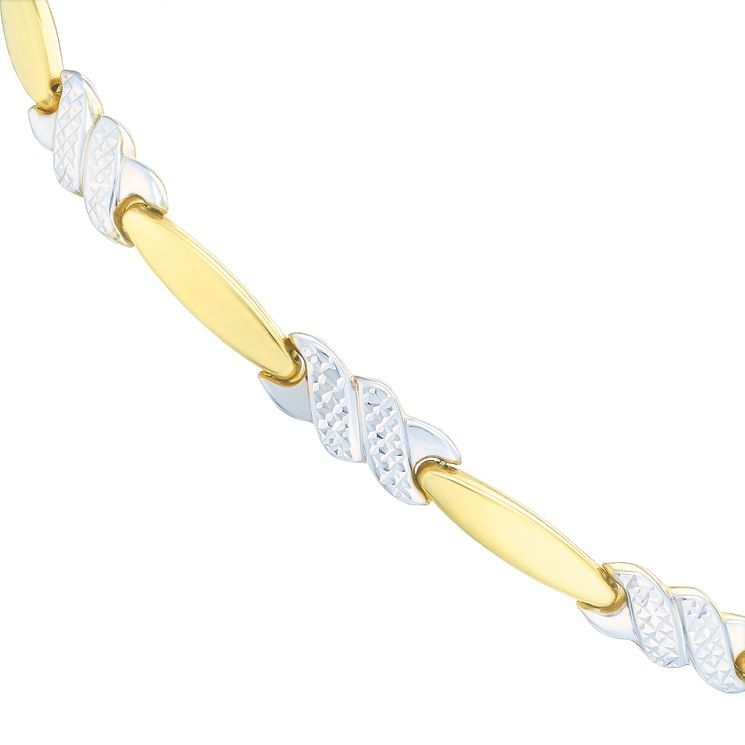 9ct Two Colour Gold Diamond Cut Kiss Link Chain - Product number 6512488